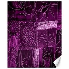 Purple Background Patchwork Flowers Canvas 11  x 14