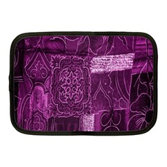 Purple Background Patchwork Flowers Netbook Case (Medium)