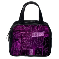 Purple Background Patchwork Flowers Classic Handbags (one Side)