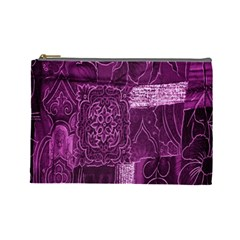Purple Background Patchwork Flowers Cosmetic Bag (Large)