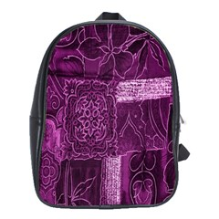 Purple Background Patchwork Flowers School Bags(Large)