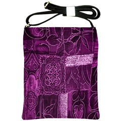 Purple Background Patchwork Flowers Shoulder Sling Bags