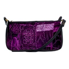 Purple Background Patchwork Flowers Shoulder Clutch Bags