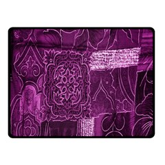 Purple Background Patchwork Flowers Fleece Blanket (Small)