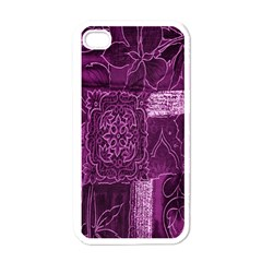 Purple Background Patchwork Flowers Apple iPhone 4 Case (White)