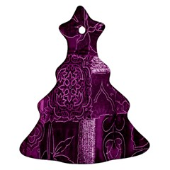 Purple Background Patchwork Flowers Ornament (christmas Tree)