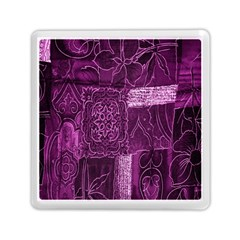 Purple Background Patchwork Flowers Memory Card Reader (square)