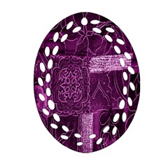 Purple Background Patchwork Flowers Ornament (Oval Filigree)