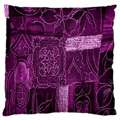 Purple Background Patchwork Flowers Large Cushion Case (two Sides)