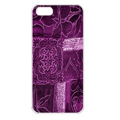 Purple Background Patchwork Flowers Apple Iphone 5 Seamless Case (white)