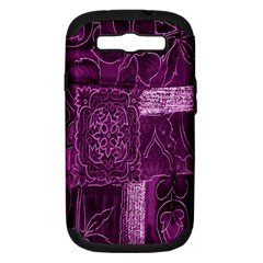 Purple Background Patchwork Flowers Samsung Galaxy S Iii Hardshell Case (pc+silicone)