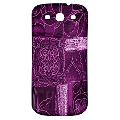 Purple Background Patchwork Flowers Samsung Galaxy S3 S Iii Classic Hardshell Back Case
