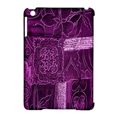 Purple Background Patchwork Flowers Apple iPad Mini Hardshell Case (Compatible with Smart Cover)