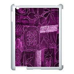 Purple Background Patchwork Flowers Apple iPad 3/4 Case (White)