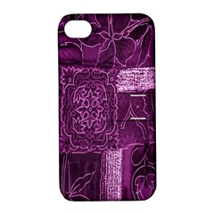 Purple Background Patchwork Flowers Apple iPhone 4/4S Hardshell Case with Stand