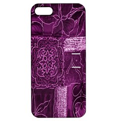 Purple Background Patchwork Flowers Apple iPhone 5 Hardshell Case with Stand
