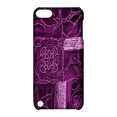Purple Background Patchwork Flowers Apple iPod Touch 5 Hardshell Case with Stand