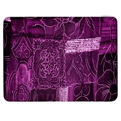 Purple Background Patchwork Flowers Samsung Galaxy Tab 7  P1000 Flip Case