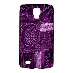 Purple Background Patchwork Flowers Galaxy S4 Active