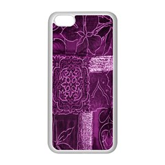 Purple Background Patchwork Flowers Apple iPhone 5C Seamless Case (White)