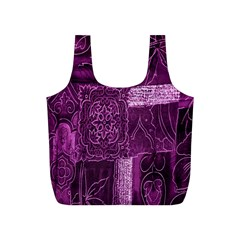 Purple Background Patchwork Flowers Full Print Recycle Bags (s)