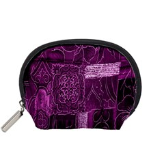 Purple Background Patchwork Flowers Accessory Pouches (Small)