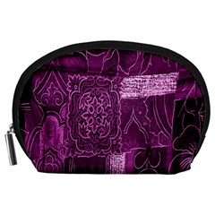 Purple Background Patchwork Flowers Accessory Pouches (large)