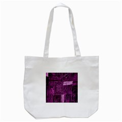 Purple Background Patchwork Flowers Tote Bag (white)