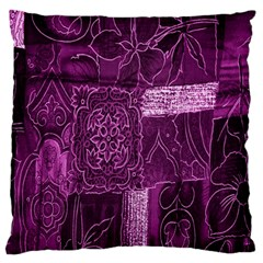 Purple Background Patchwork Flowers Large Flano Cushion Case (Two Sides)