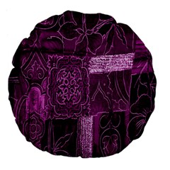 Purple Background Patchwork Flowers Large 18  Premium Flano Round Cushions
