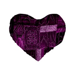 Purple Background Patchwork Flowers Standard 16  Premium Flano Heart Shape Cushions