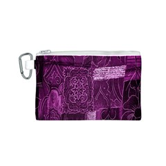 Purple Background Patchwork Flowers Canvas Cosmetic Bag (s)