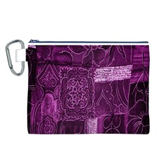 Purple Background Patchwork Flowers Canvas Cosmetic Bag (L)