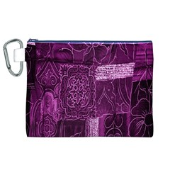 Purple Background Patchwork Flowers Canvas Cosmetic Bag (XL)