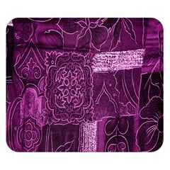 Purple Background Patchwork Flowers Double Sided Flano Blanket (small)