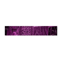 Purple Background Patchwork Flowers Flano Scarf (Mini)