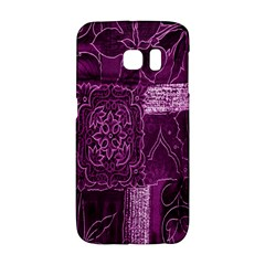 Purple Background Patchwork Flowers Galaxy S6 Edge