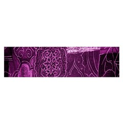 Purple Background Patchwork Flowers Satin Scarf (oblong)