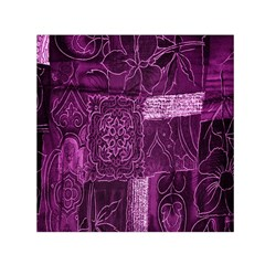 Purple Background Patchwork Flowers Small Satin Scarf (Square)