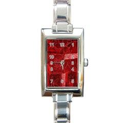 Red Background Patchwork Flowers Rectangle Italian Charm Watch
