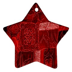 Red Background Patchwork Flowers Ornament (Star)