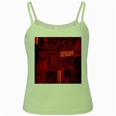 Red Background Patchwork Flowers Green Spaghetti Tank