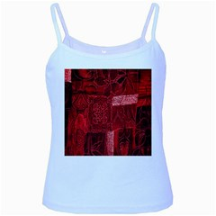 Red Background Patchwork Flowers Baby Blue Spaghetti Tank