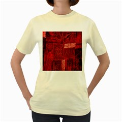 Red Background Patchwork Flowers Women s Yellow T-Shirt