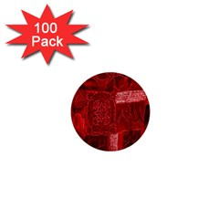 Red Background Patchwork Flowers 1  Mini Buttons (100 pack)