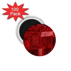 Red Background Patchwork Flowers 1.75  Magnets (100 pack)