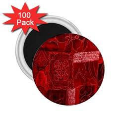 Red Background Patchwork Flowers 2 25  Magnets (100 Pack)