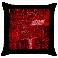Red Background Patchwork Flowers Throw Pillow Case (Black)