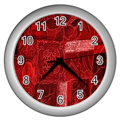 Red Background Patchwork Flowers Wall Clocks (silver)