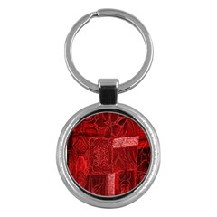 Red Background Patchwork Flowers Key Chains (Round)